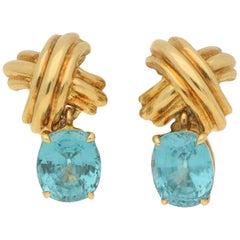 Tiffany & Co. Blue Zircon Cross Earrings in 18 Carat Yellow Gold