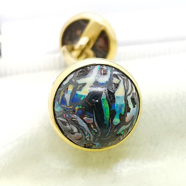 Edwardian Tiffany & Co Boulder Opal and Gold Cufflinks, circa 1910 For Sale