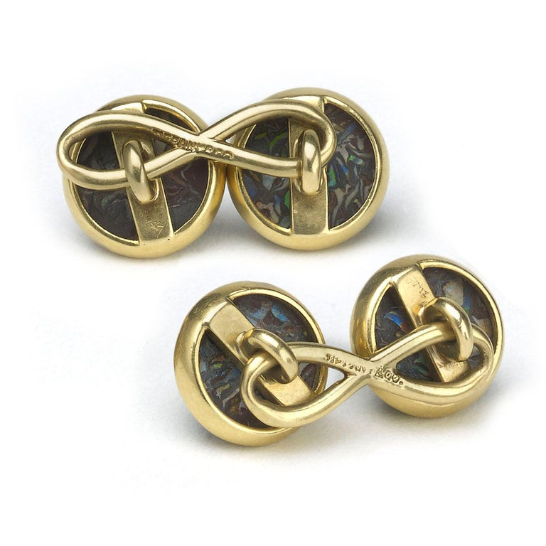 Tiffany & Co Boulder Opal and Gold Cufflinks, circa 1910 In Good Condition For Sale In London, GB