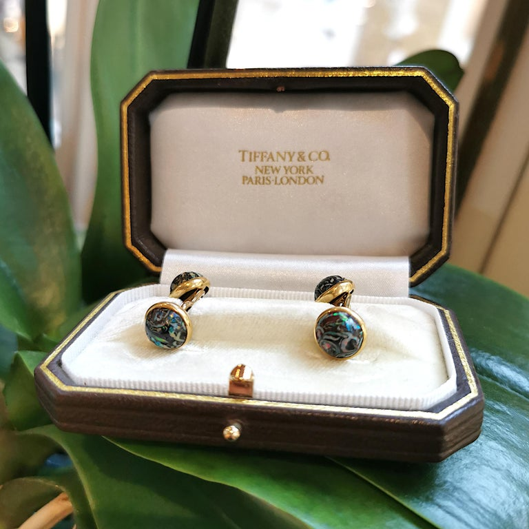 Men's Tiffany & Co Boulder Opal and Gold Cufflinks, circa 1910 For Sale