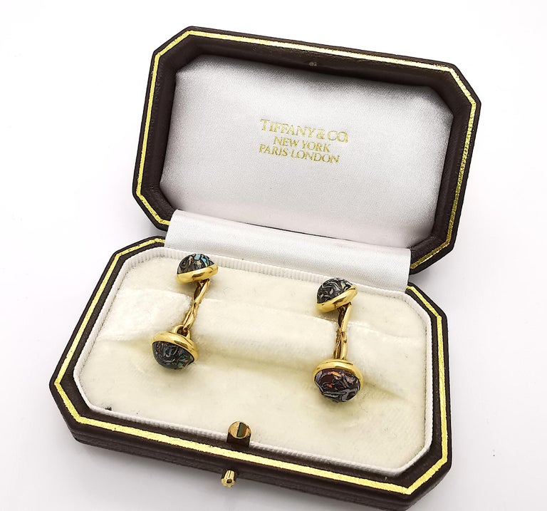 Tiffany & Co Boulder Opal and Gold Cufflinks, circa 1910 For Sale 1