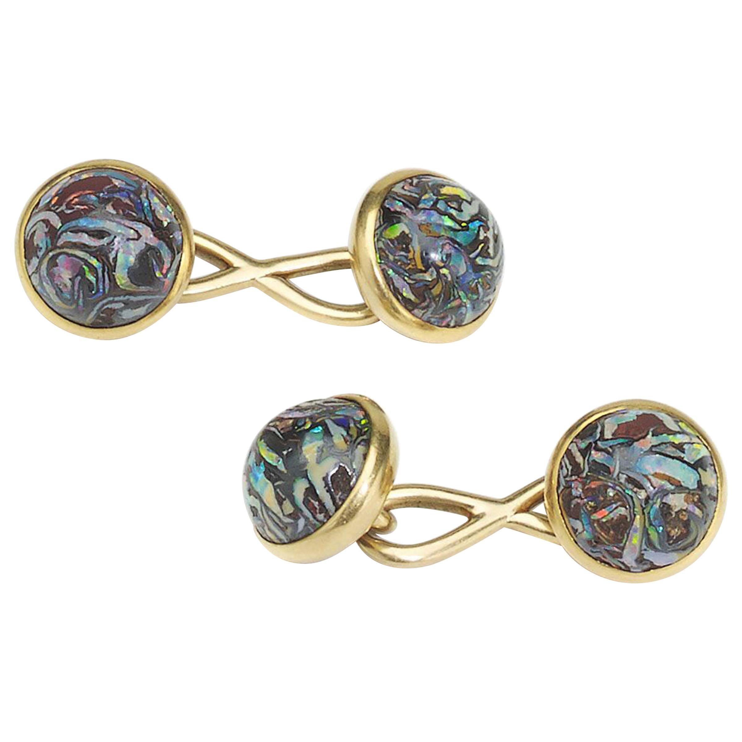 Tiffany & Co Boulder Opal and Gold Cufflinks, circa 1910