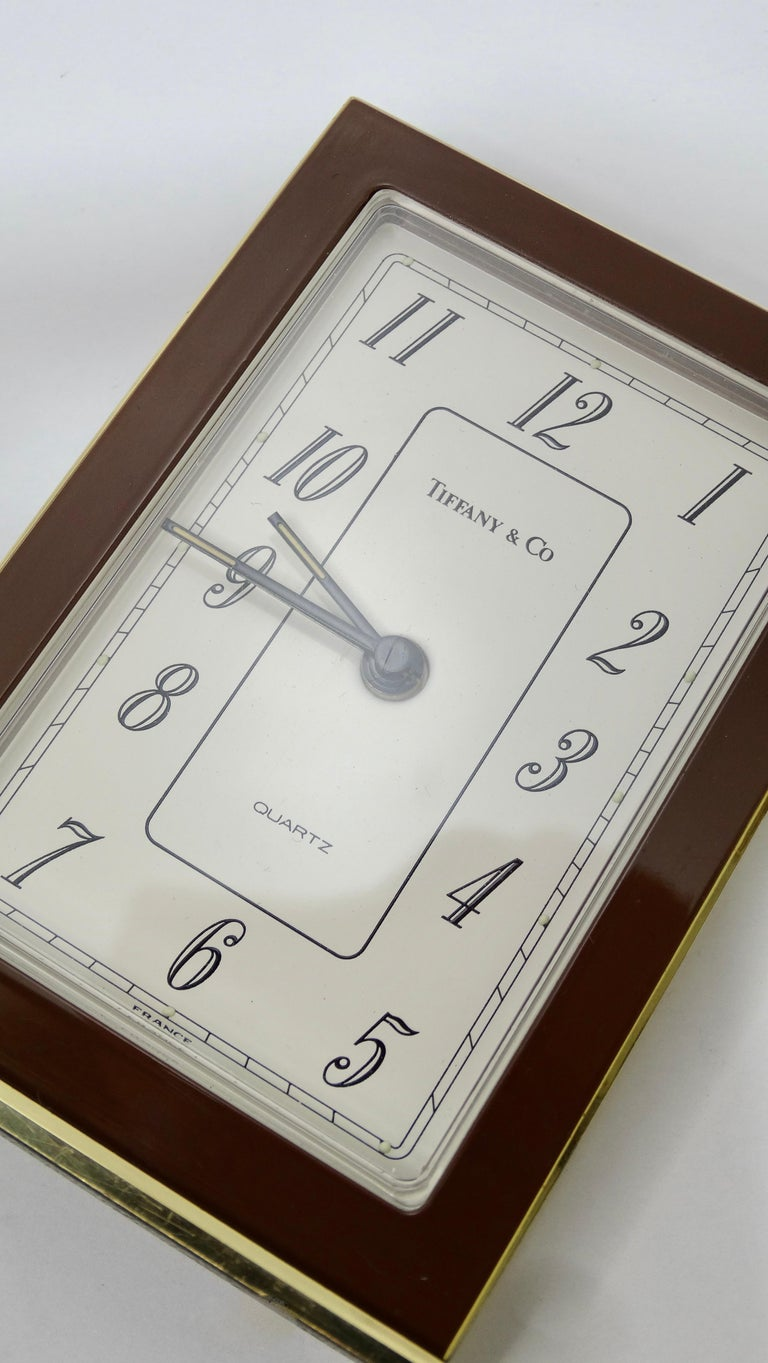 Tiffany & Co. Brass Desk Clock  In Good Condition For Sale In Scottsdale, AZ