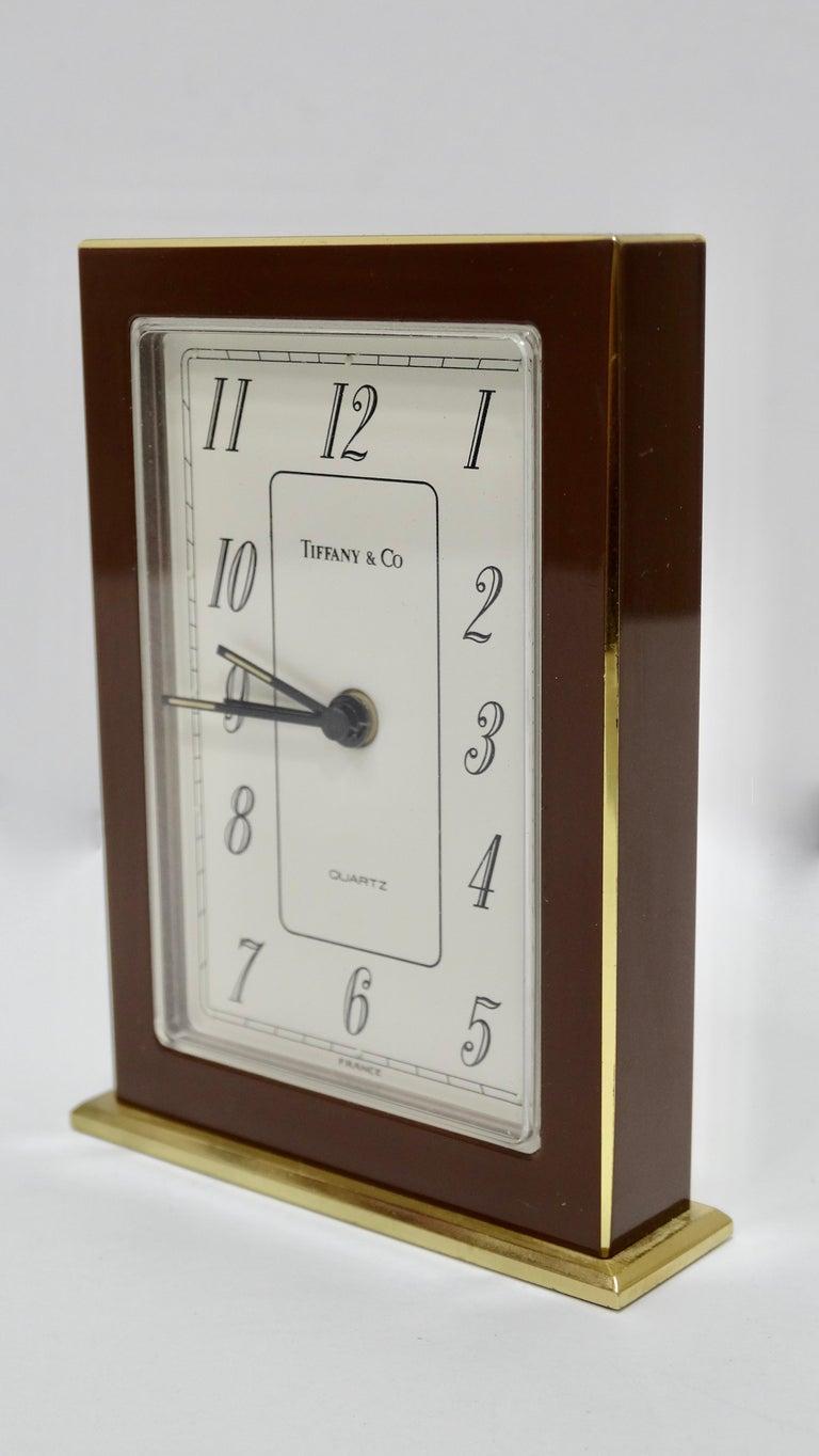 Women's or Men's Tiffany & Co. Brass Desk Clock  For Sale