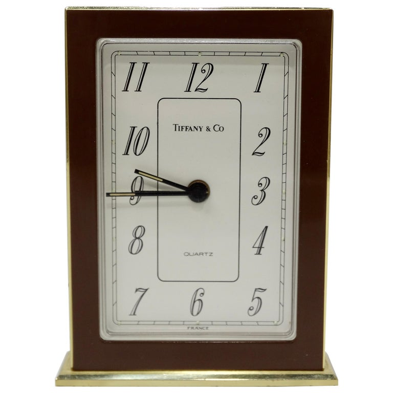 Tiffany & Co. Brass Desk Clock  For Sale