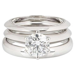 Tiffany & Co. Bridal Suite with Diamond Solitaire Ring and Wedding Bands 1.21 Ct