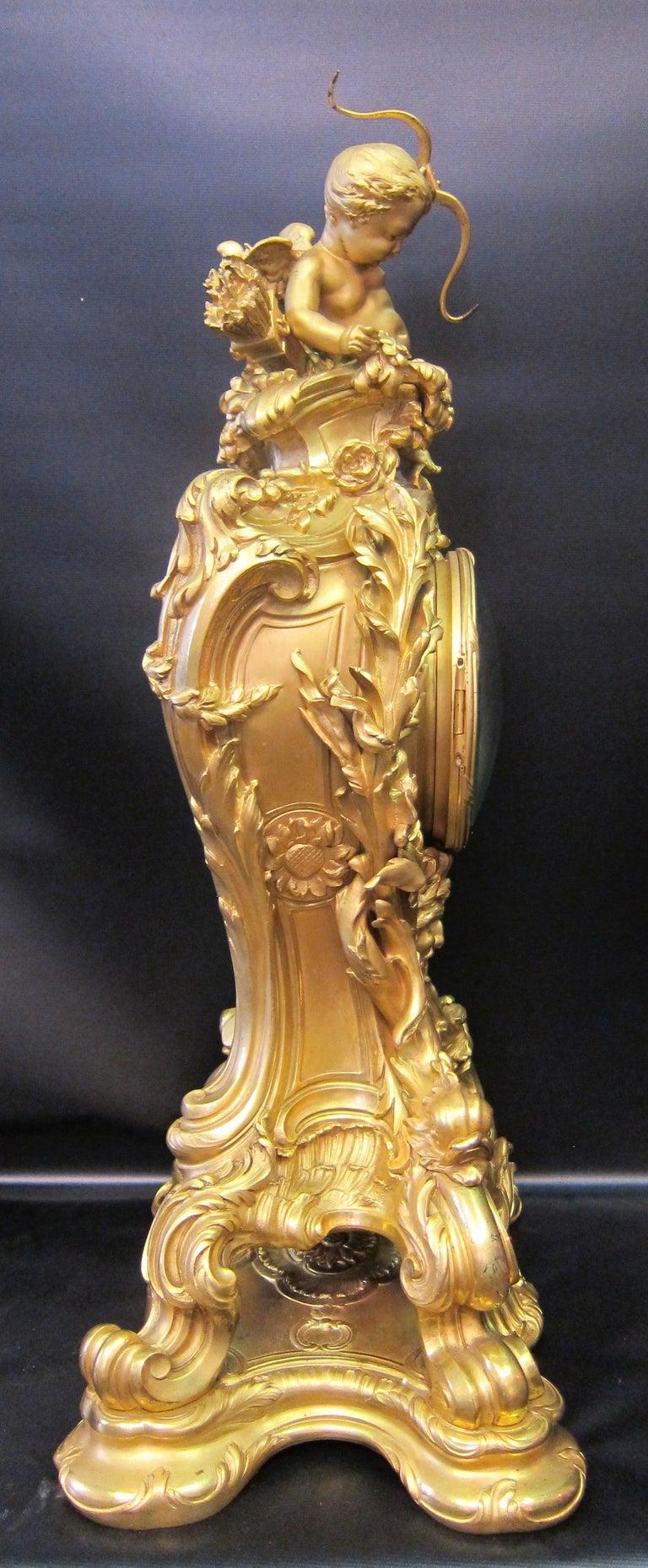 Tiffany & Co. Bronze Clock Ensemble, E. Colin & Cie For Sale 6