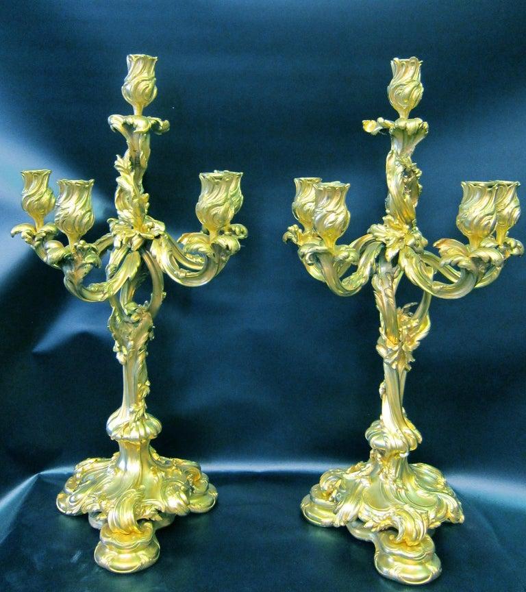 Tiffany & Co. Bronze Clock Ensemble, E. Colin & Cie For Sale 7