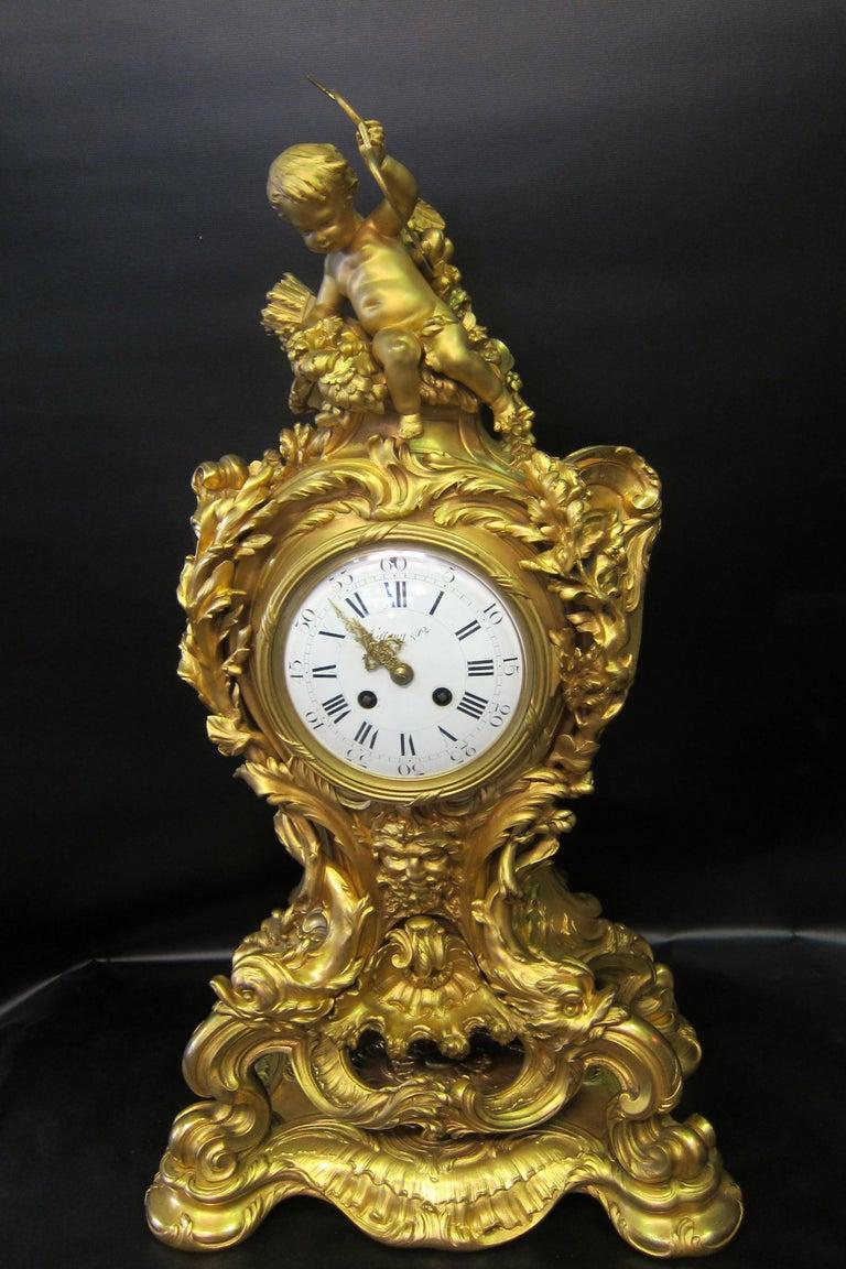 Rococo Tiffany & Co. Bronze Clock Ensemble, E. Colin & Cie For Sale