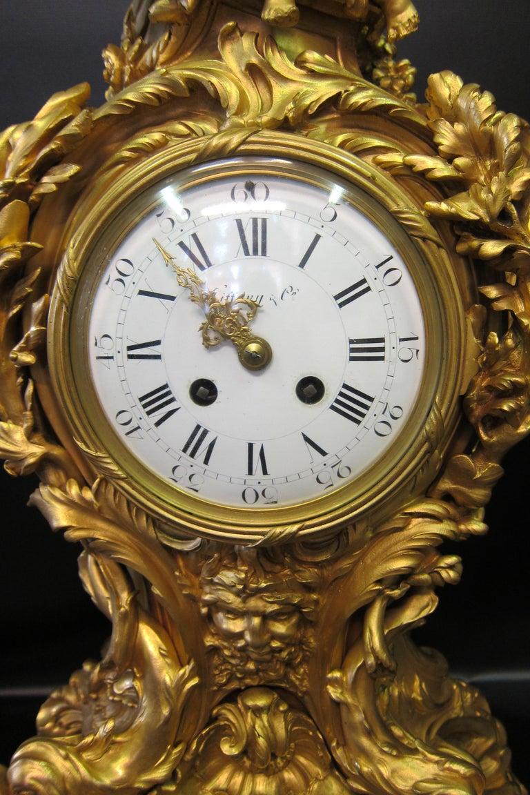 French Tiffany & Co. Bronze Clock Ensemble, E. Colin & Cie For Sale