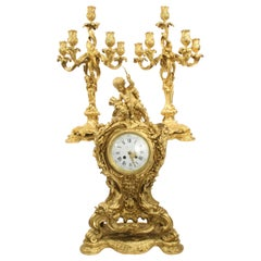 Tiffany & Co. Bronze Clock Ensemble, E. Colin & Cie
