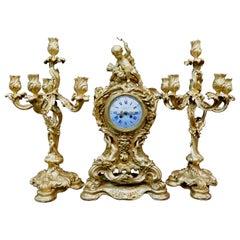 Tiffany & Co. Bronze Clock Ensemble, E. Colin & Cie