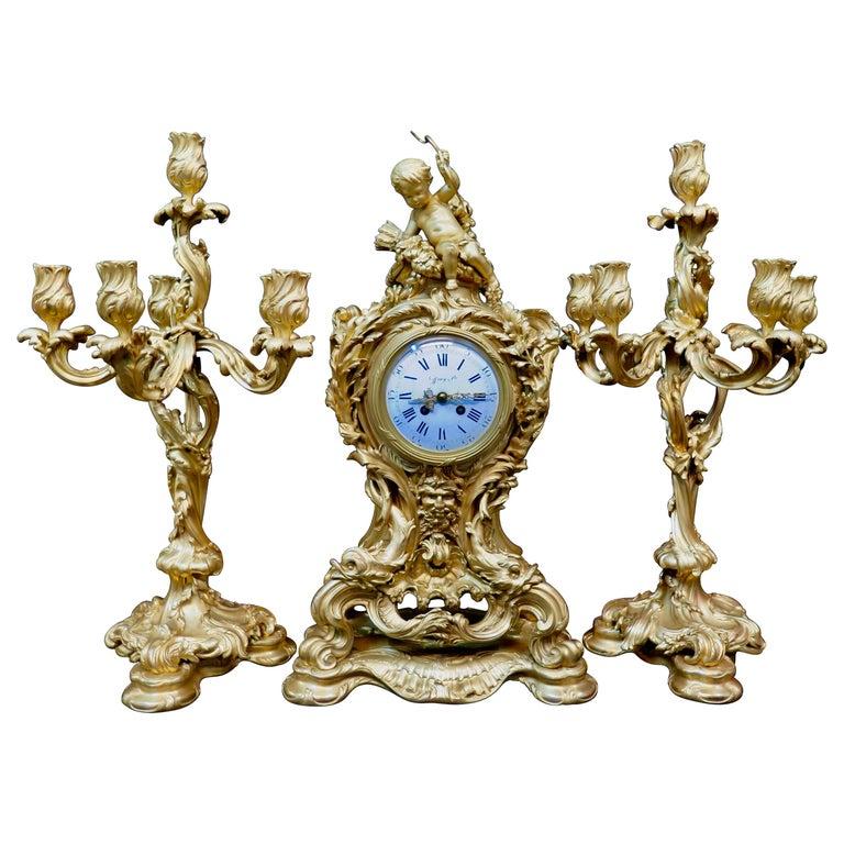 Tiffany & Co. Bronze Clock Ensemble, E. Colin & Cie For Sale