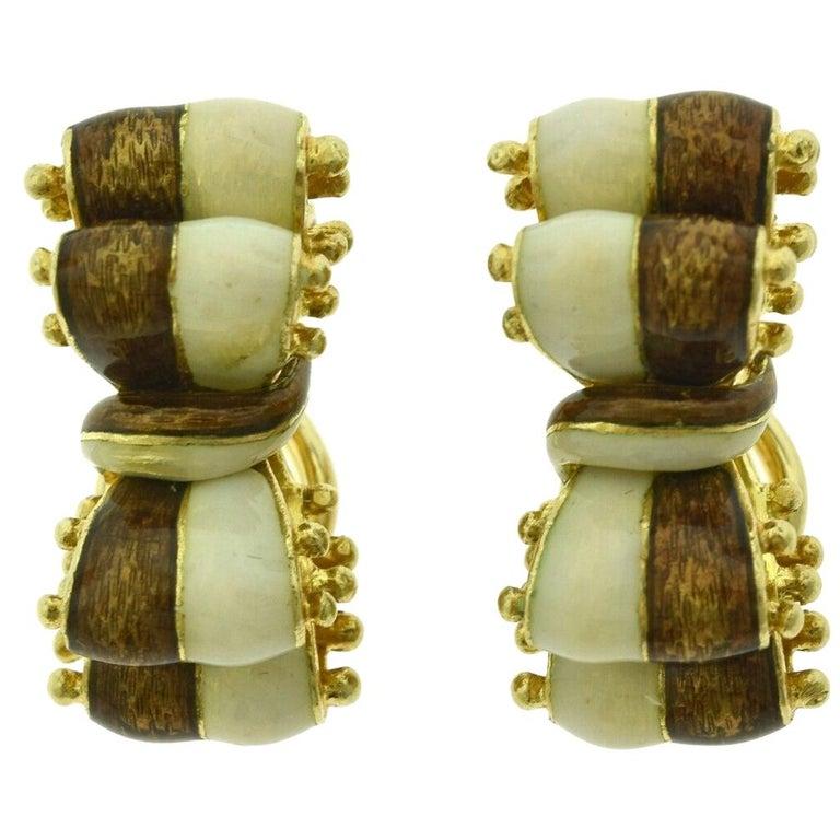 Tiffany & Co. Brown White Enamel 18k Gold Double Ribbon Bow Tie Clip-On Earrings For Sale