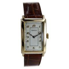 Tiffany & Co. by International 18 Karat Gold Art Deco Tank Watch, circa 1930