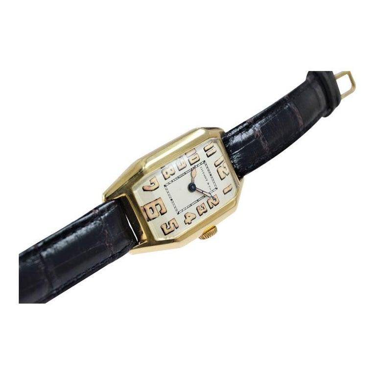 Tiffany & Co. by International Watch Co. 18 Karat Gold Art Deco Handmade Watch For Sale 6