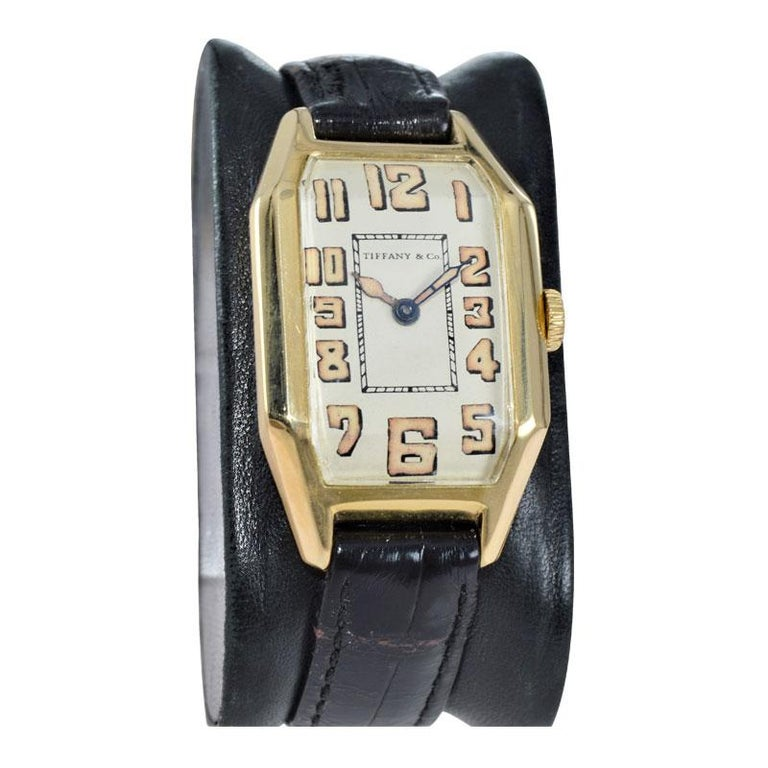 Women's or Men's Tiffany & Co. by International Watch Co. 18 Karat Gold Art Deco Handmade Watch For Sale