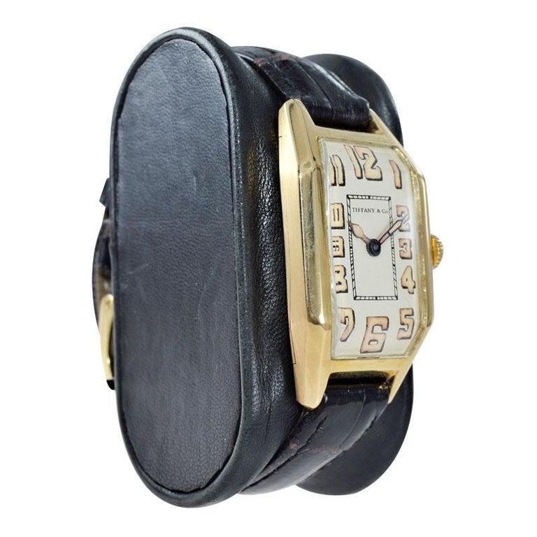 Tiffany & Co. by International Watch Co. 18 Karat Gold Art Deco Handmade Watch For Sale 1