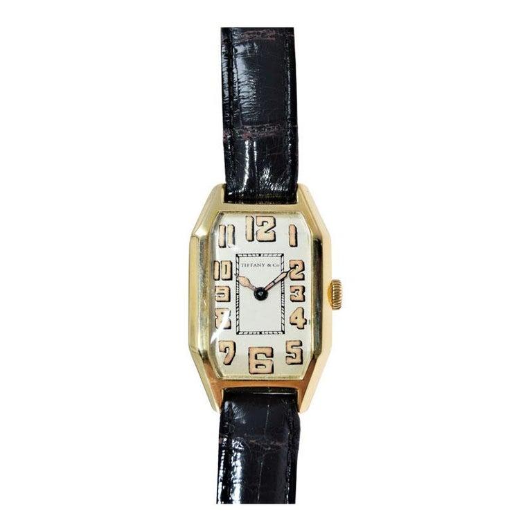Tiffany & Co. by International Watch Co. 18 Karat Gold Art Deco Handmade Watch For Sale 2