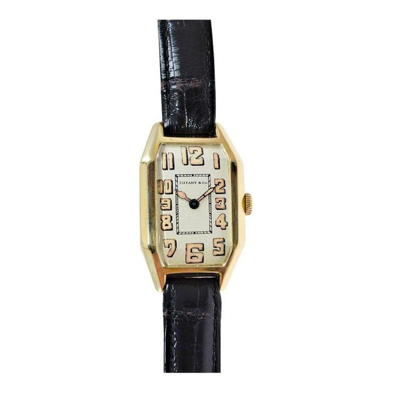 Tiffany & Co. by International Watch Co. 18 Karat Gold Art Deco Handmade Watch For Sale 3