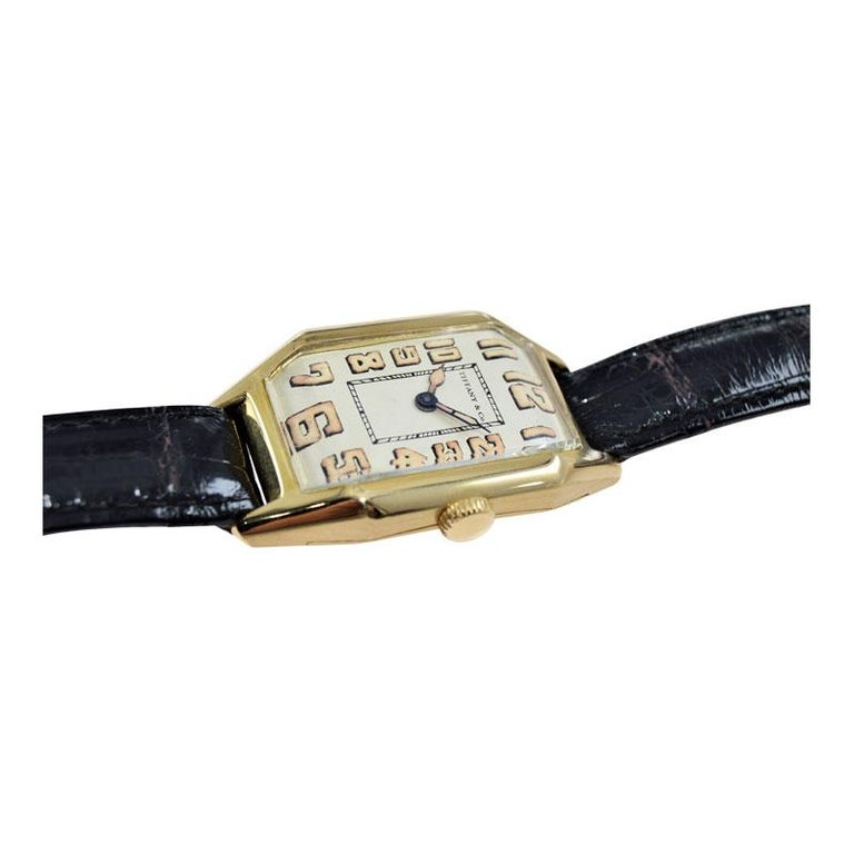 Tiffany & Co. by International Watch Co. 18 Karat Gold Art Deco Handmade Watch For Sale 4