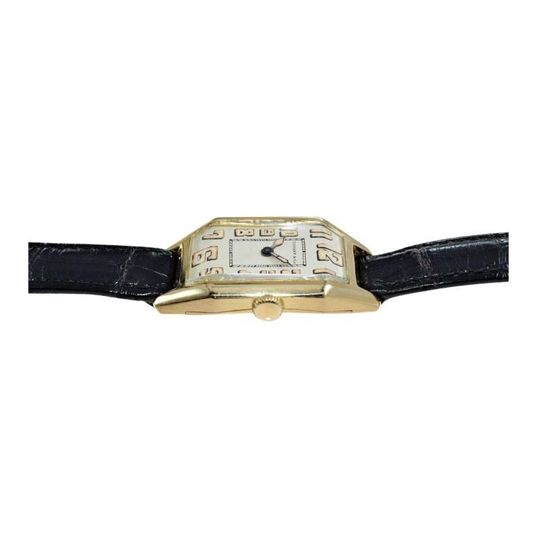 Tiffany & Co. by International Watch Co. 18 Karat Gold Art Deco Handmade Watch For Sale 5