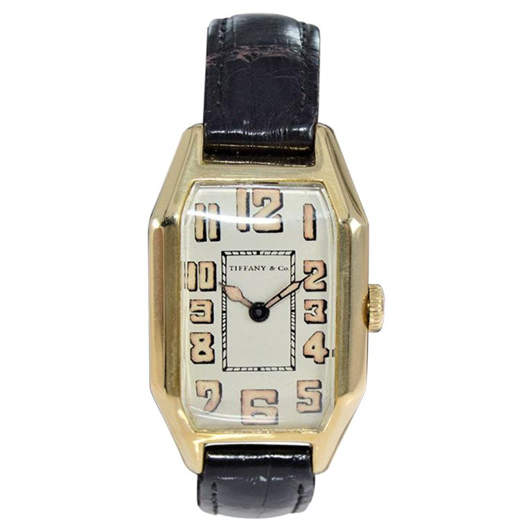 Tiffany & Co. by International Watch Co. 18 Karat Gold Art Deco Handmade Watch For Sale