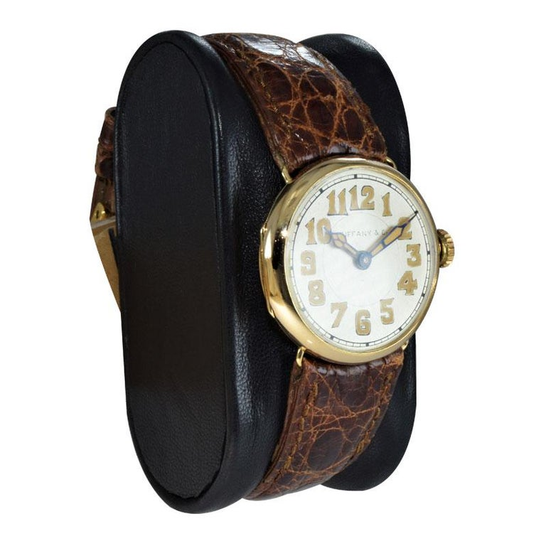 Women's or Men's Tiffany & Co. by Longines 18 Karat Gold from 1917 Art Deco Watch 100 Years Old For Sale