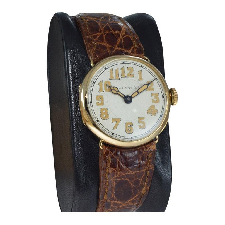 Tiffany & Co. by Longines 18 Karat Gold from 1917 Art Deco Watch 100 Years Old For Sale 2