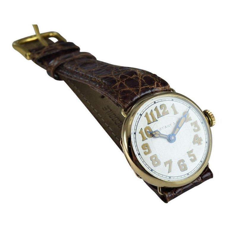 Tiffany & Co. by Longines 18 Karat Gold from 1917 Art Deco Watch 100 Years Old For Sale 3