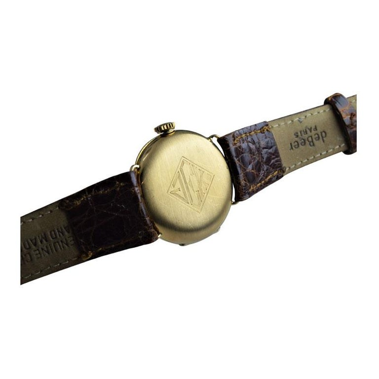Tiffany & Co. by Longines 18 Karat Gold from 1917 Art Deco Watch 100 Years Old For Sale 5
