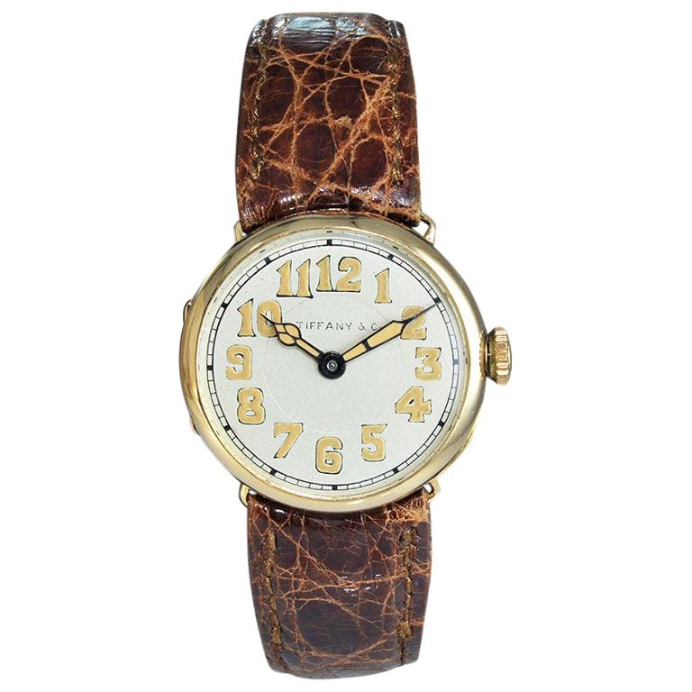 Tiffany & Co. by Longines 18 Karat Gold from 1917 Art Deco Watch 100 Years Old For Sale