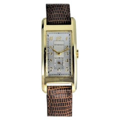 Tiffany & Co. by Movado 14Kt. Gold Art Deco Curvex Style Wristwatch from 1930s