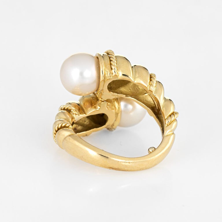 Tiffany & Co. Bypass Ring Vintage Cultured Pearl 18 Karat Yellow Gold Rope Twist In Good Condition For Sale In Torrance, CA