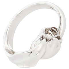 TIFFANY & CO c. 1984 Sterling Silver Wrapped Tulip Flower Motif Sculpted Ring