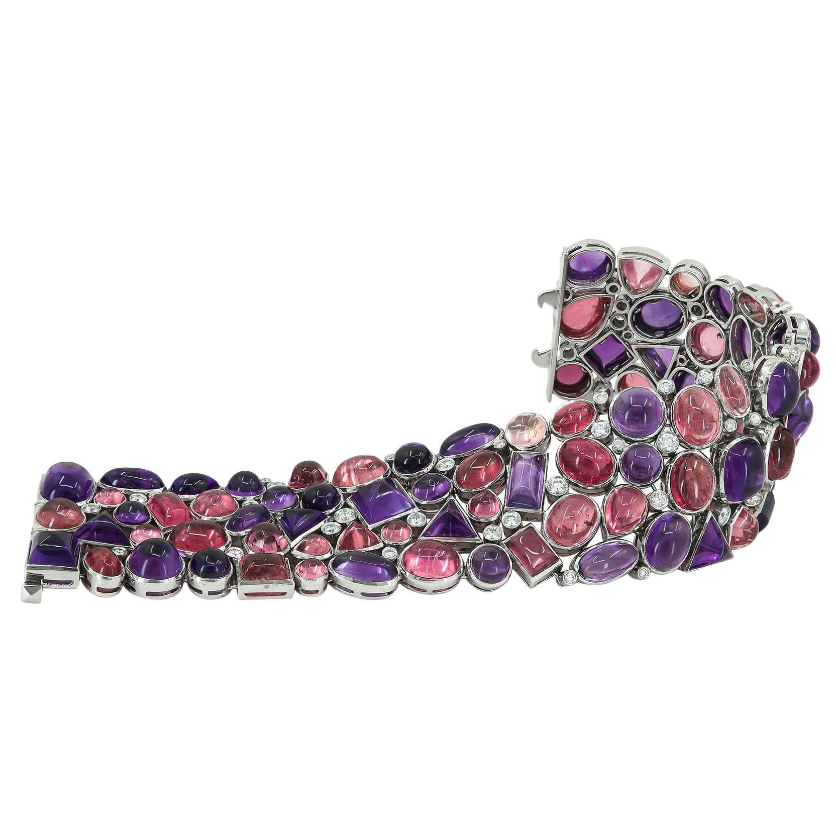 Tiffany & Co. Diamond Cabochon Amethyst Tourmaline Yellow Gold Platinum Bracelet