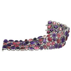 Tiffany & Co. Cabochon Amethyst, Tourmaline and Diamond Bracelet