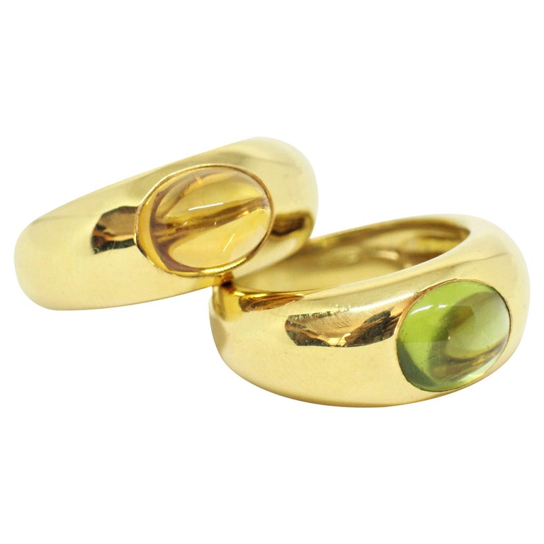 Tiffany & Co  Cabochon Citrine and Peridot Ring Set in 18 Carat Yellow Gold