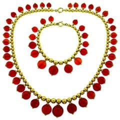 Tiffany & Co. Carnelian Gold Necklace Bracelet Set
