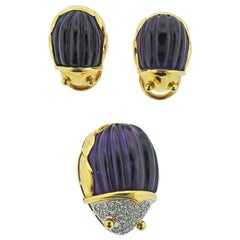 Tiffany & Co. Carved Amethyst Diamond Gold Beetle Earrings Brooch Set