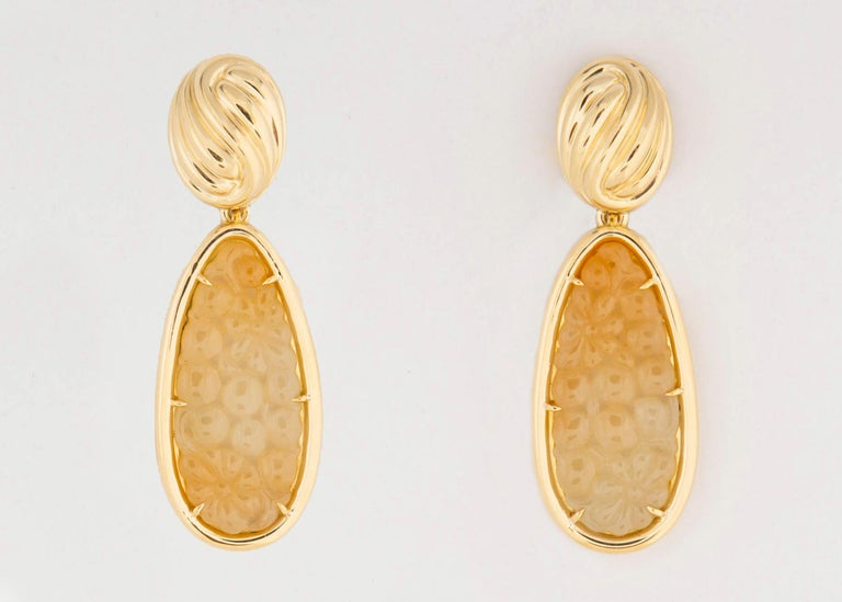 Contemporary Tiffany & Co. Carved Jade Drop Earrings For Sale