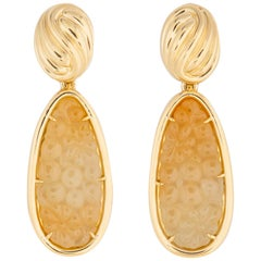 Tiffany & Co. Carved Jade Drop Earrings