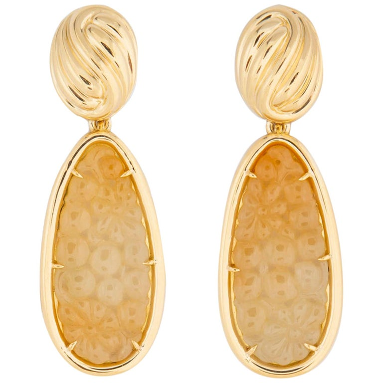 Tiffany & Co. Carved Jade Drop Earrings For Sale