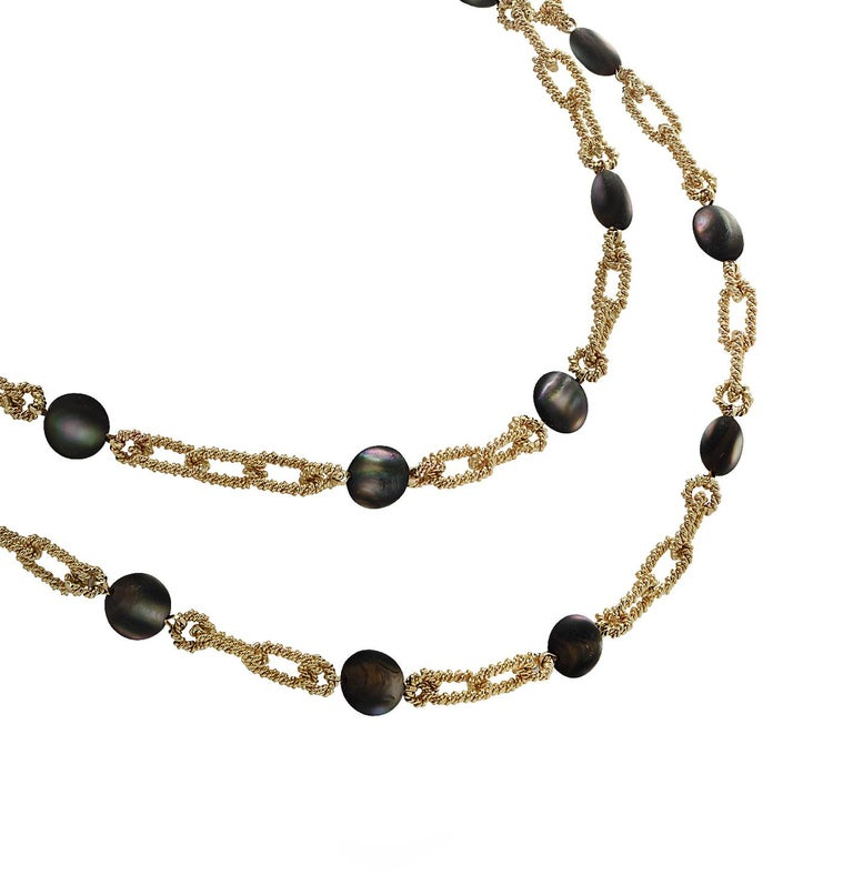 Tiffany & Co. Cat's Eye Labradorite Yellow Gold Necklace For Sale 2