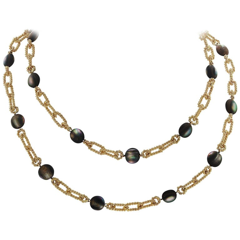 Tiffany & Co. Cat's Eye Labradorite Yellow Gold Necklace For Sale