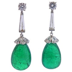 Tiffany & Co. Certified 43 Carat Emerald Diamond Platinum Earrings