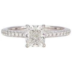 Tiffany & Co. Certified Platinum Cushion Diamond Novo Solitaire Engagement Ring