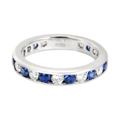 Tiffany & Co. Channel Set Diamond and Sapphire Band in Platinum 0.6 Carat