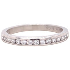 Tiffany & Co. Channel Set Round Diamond Wedding Band 0.24 Carat Platinum