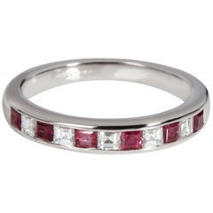 Tiffany & Co. Channel Set Ruby Diamond Band in Platinum 0.25 Carat